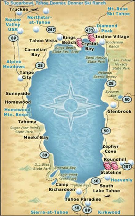 Map  Lake Tahoe Nevada USA Travel Guide
